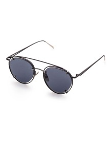 Black Frame Double Bridge Sunglasses