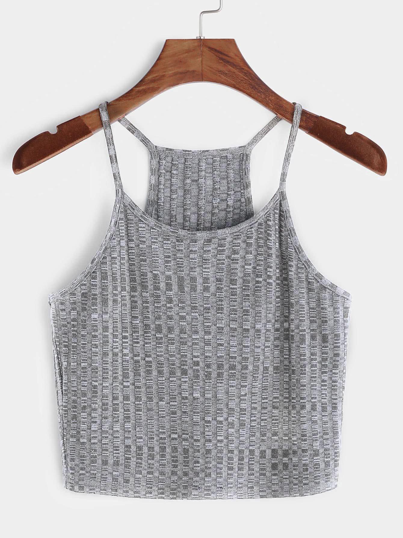 Heather Grey Ribbed Knit Racer Back Cami Top vest170310701