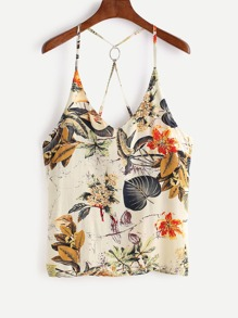 Tropical Print Metal Ring Halter Top