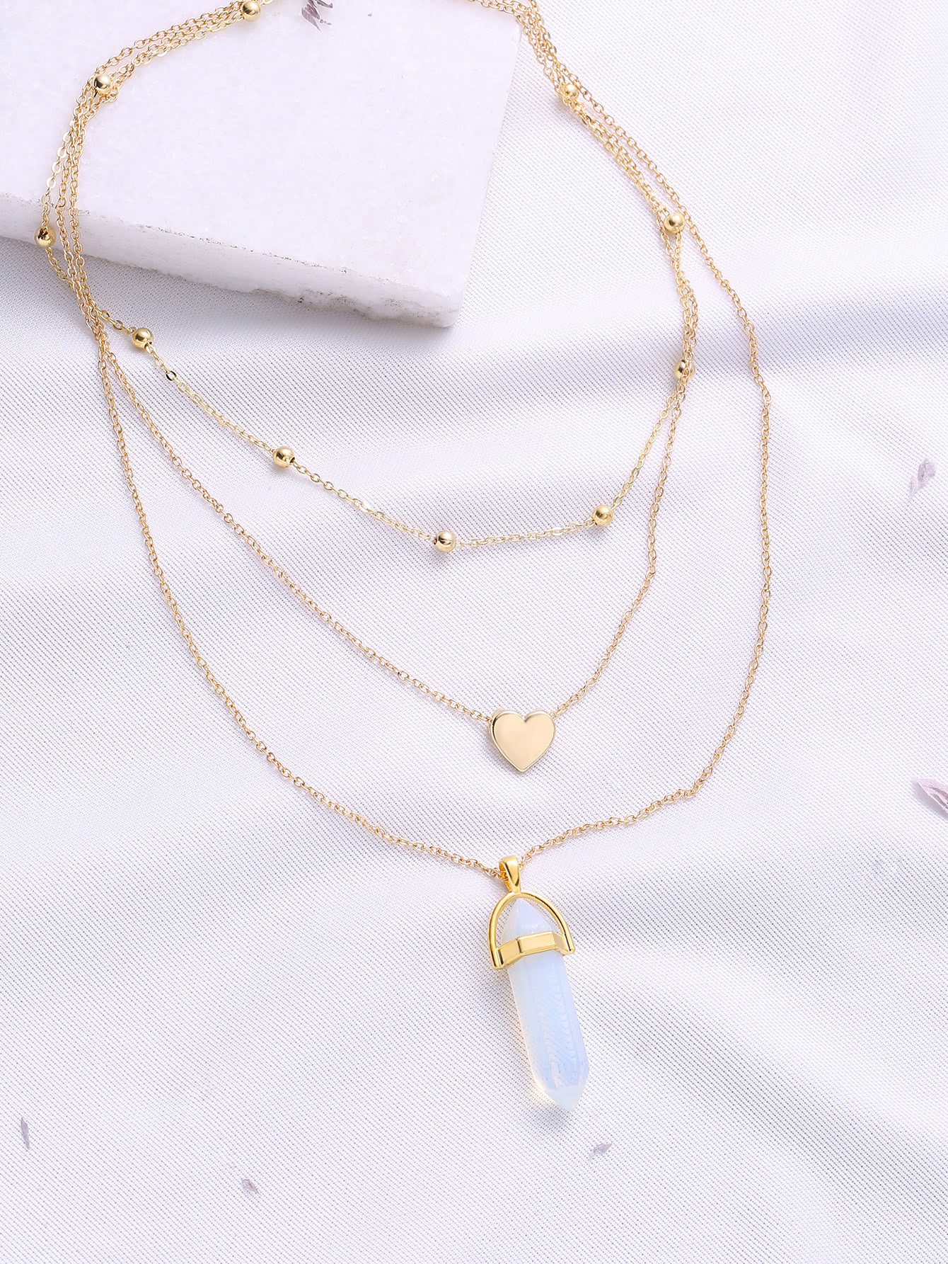 Gold Heart Pendant Layered Chain Necklace heart of gold
