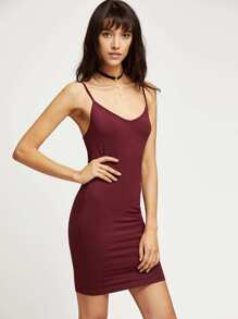 Wine Red Jersey Cami Bodycon Dress