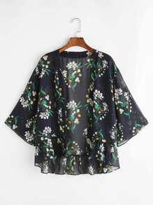 Kimono imprimé et bas froncé - noir
