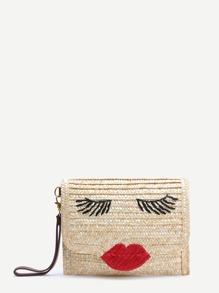Beige Face Pattern Straw Clutch Bag