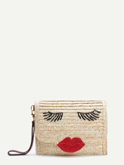 Beige Face Pattern Straw Clutch Bag