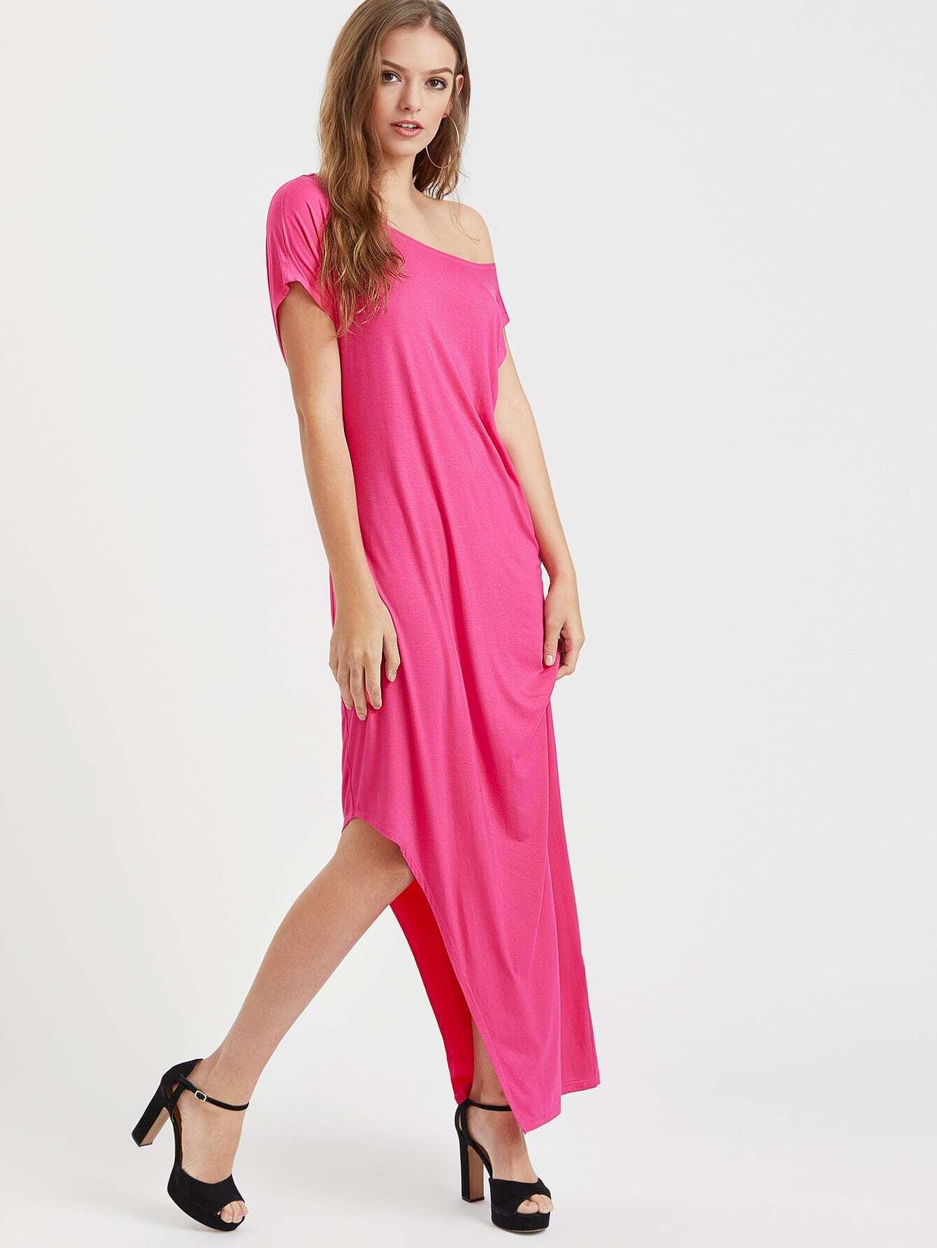 Фото Off Shoulder Asymmetric Tee Dress. Купить с доставкой