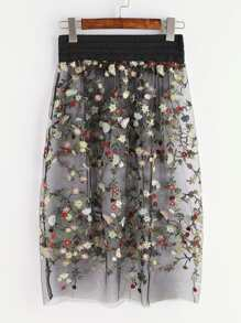 Black Flower Embroidered Sheer Mesh Skirt