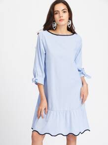 Blue Contrast Binding Tie Cuff Ruffle Hem Dress