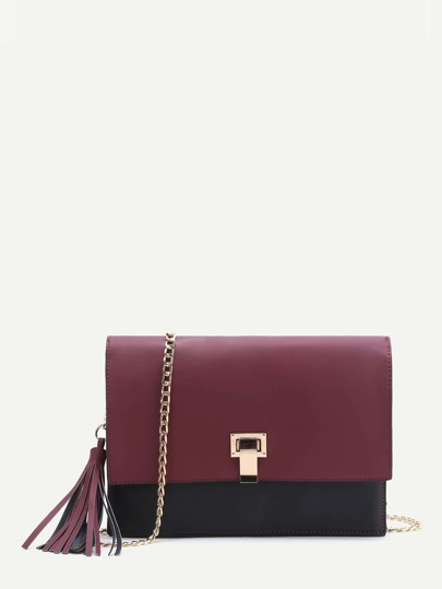 Burgundy Flap Crossbaody Bag With Tassel