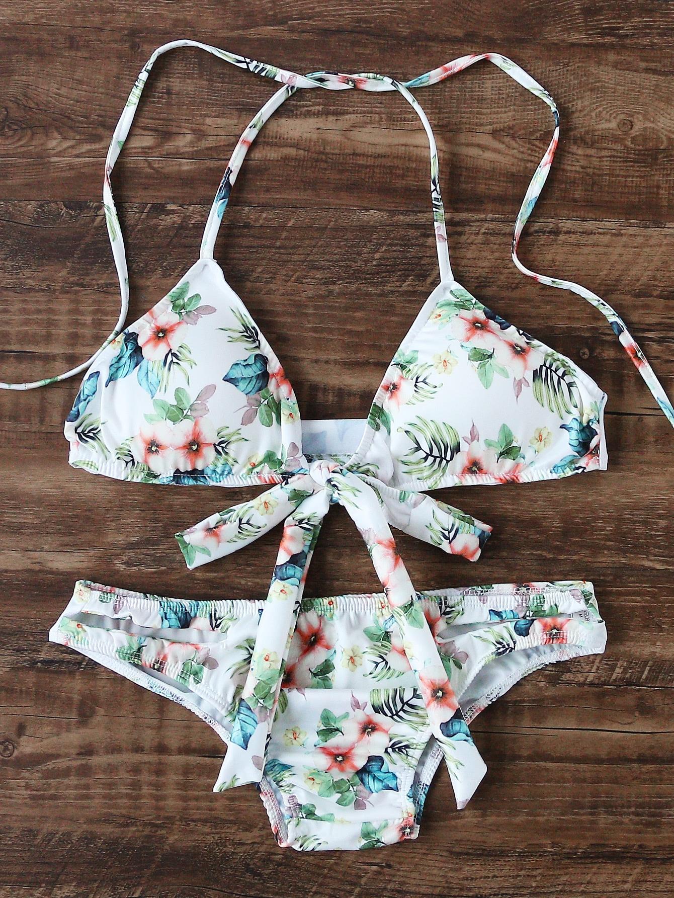Фото Flower Print Bow Tie Halter Bikini Set. Купить с доставкой