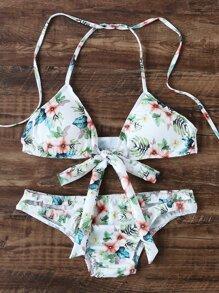 Set bikini con estampado floral en triángulo con cordón de lazo - blanco