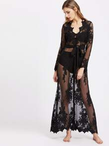 Self Tie Button Up Sheer Embroidered Mesh Dress