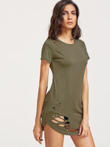 Army Green Strappato Particolare Hem curvo T-shirt