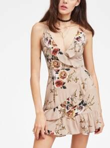 Floral Ruffle Trim Slip Dress