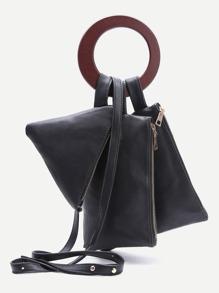 Black Clutch Bag Set With Strap