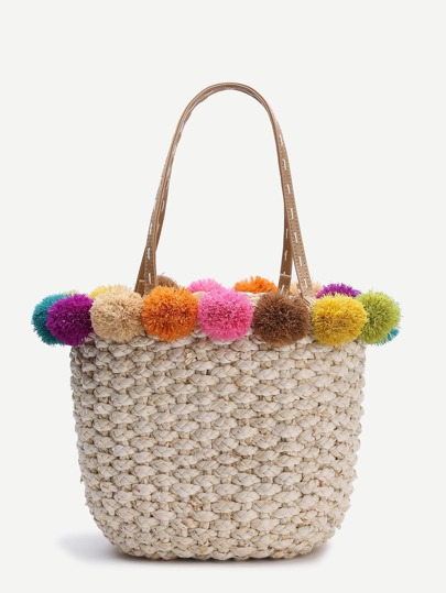Beige Pom Pom Trim Straw Tote Bag