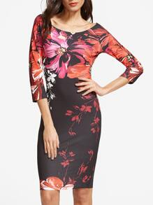 Multicolor Flower Print Boat Neck Bodycon Dress