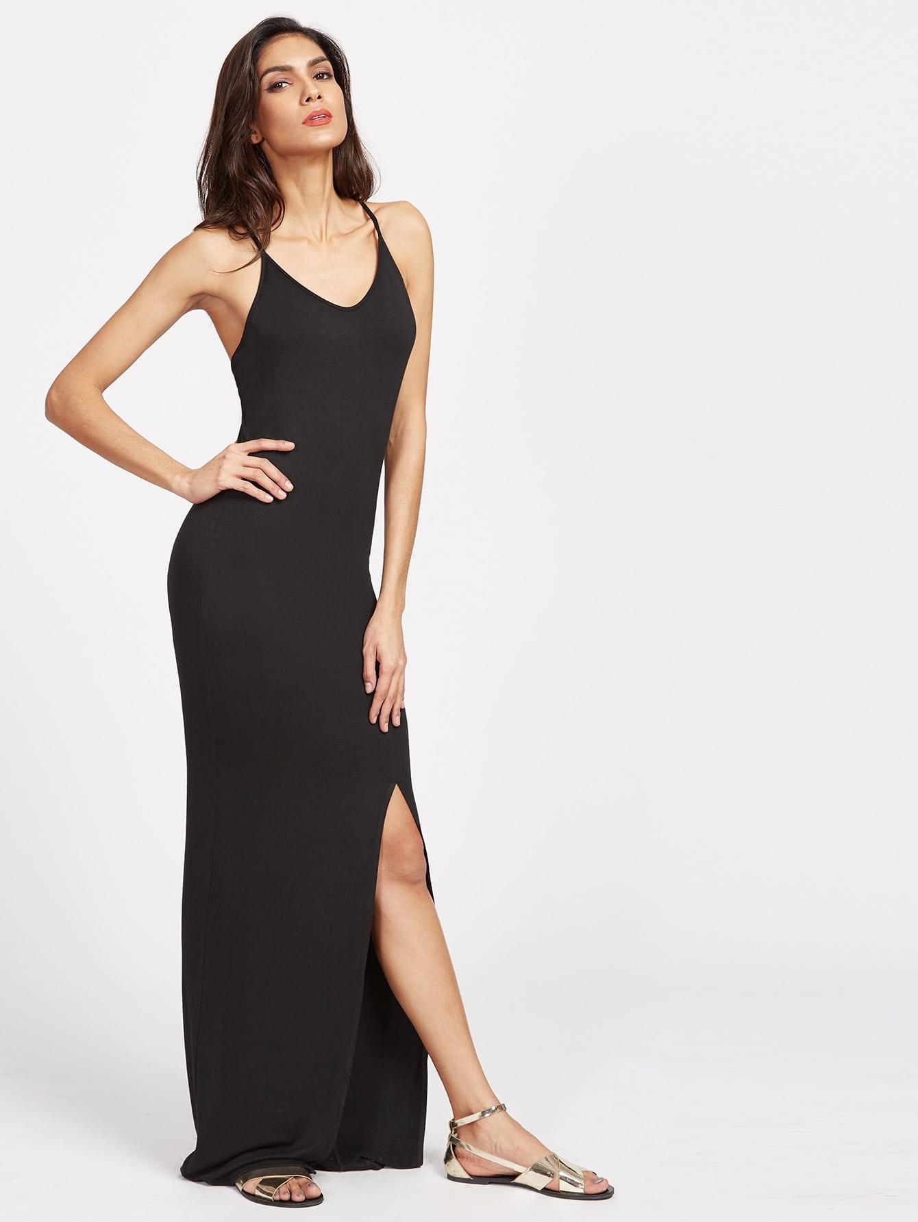 Фото Crisscross Back Slit Maxi Cami Dress. Купить с доставкой