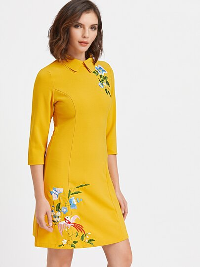 Yellow Double Collar Embroidered Dress