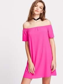Elasticized Bardot Neck Dress