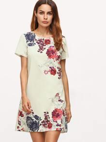 Apricot Aztec Print Shift Dress