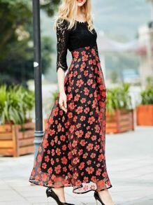 Vestido estampado de encaje con tul-rojo