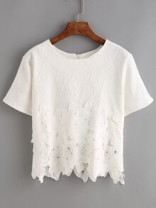Lace Insert Jacquard Zip Back Blouse