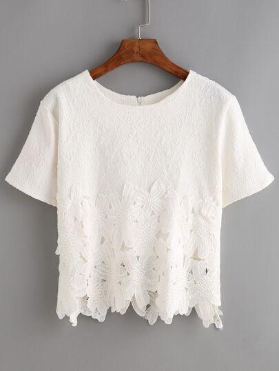 Lace Insert Jacquard Zip Back Blouse