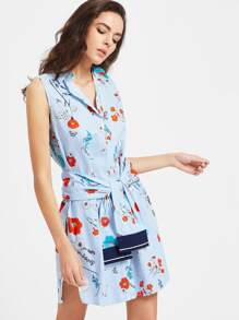 Blue Striped Flower Print Shirt Dress With Self Tie
