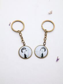 Bronze Girl Pattern Friendship Keychain 2Pcs