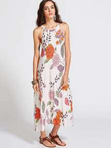 Botanical Print Halter Neck Midi Dress
