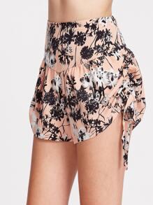Shorts pizzo sul lato con stampa floreale