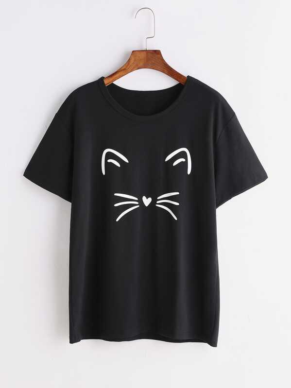 Cat Print Tee, null