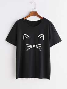 Schwarzes Katzen-Druck-T-Shirt