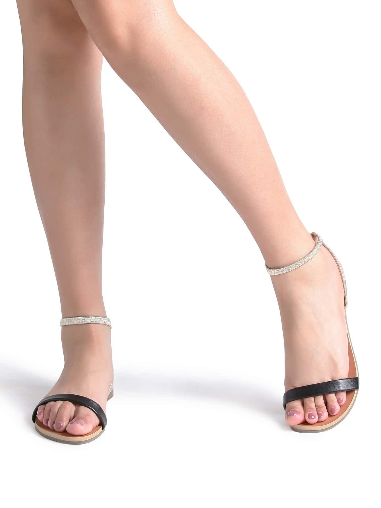 Black Ankle Strap Flat Sandals Shein Sheinside