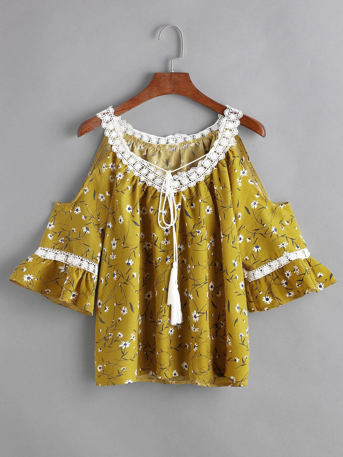 Yellow Florals Contrast Crochet Trim Tassel Tie Top blouse170316102