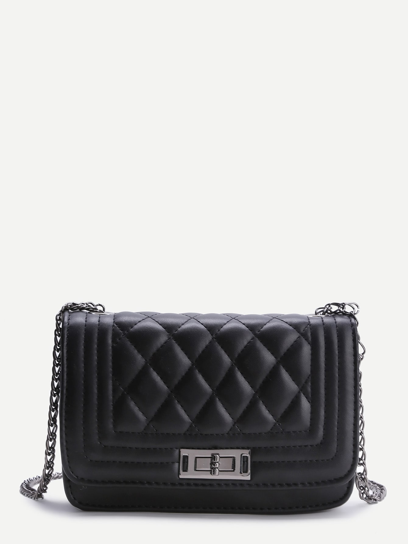 Black Quilted Crossbody Bag With Chain