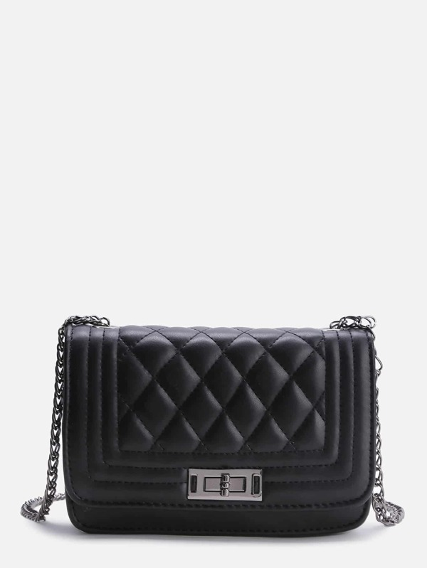 Black Quilted Crossbody Bag With Chain -SheIn(Sheinside) : quilted crossbody - Adamdwight.com