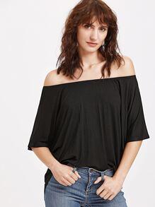 Shirt mit Schulter asymmetrische Luft - schwarz