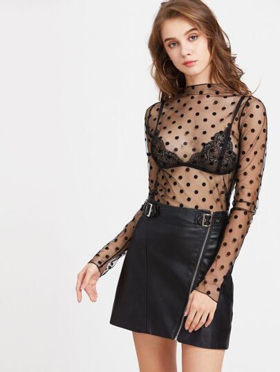 Textured Dots Sheer Top