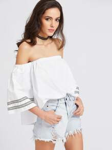 Bardot Embroidered Tape Detail Top