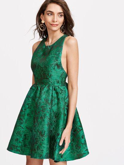 Vestido jacquard espalda con cremallera - verde