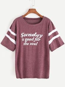 Slogan Print Varsity T-shirt