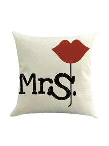 White Cute Couple Pillowcase Cover