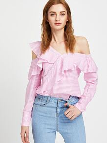 Striped Off Shoulder Asymmetric Placket Frill Top