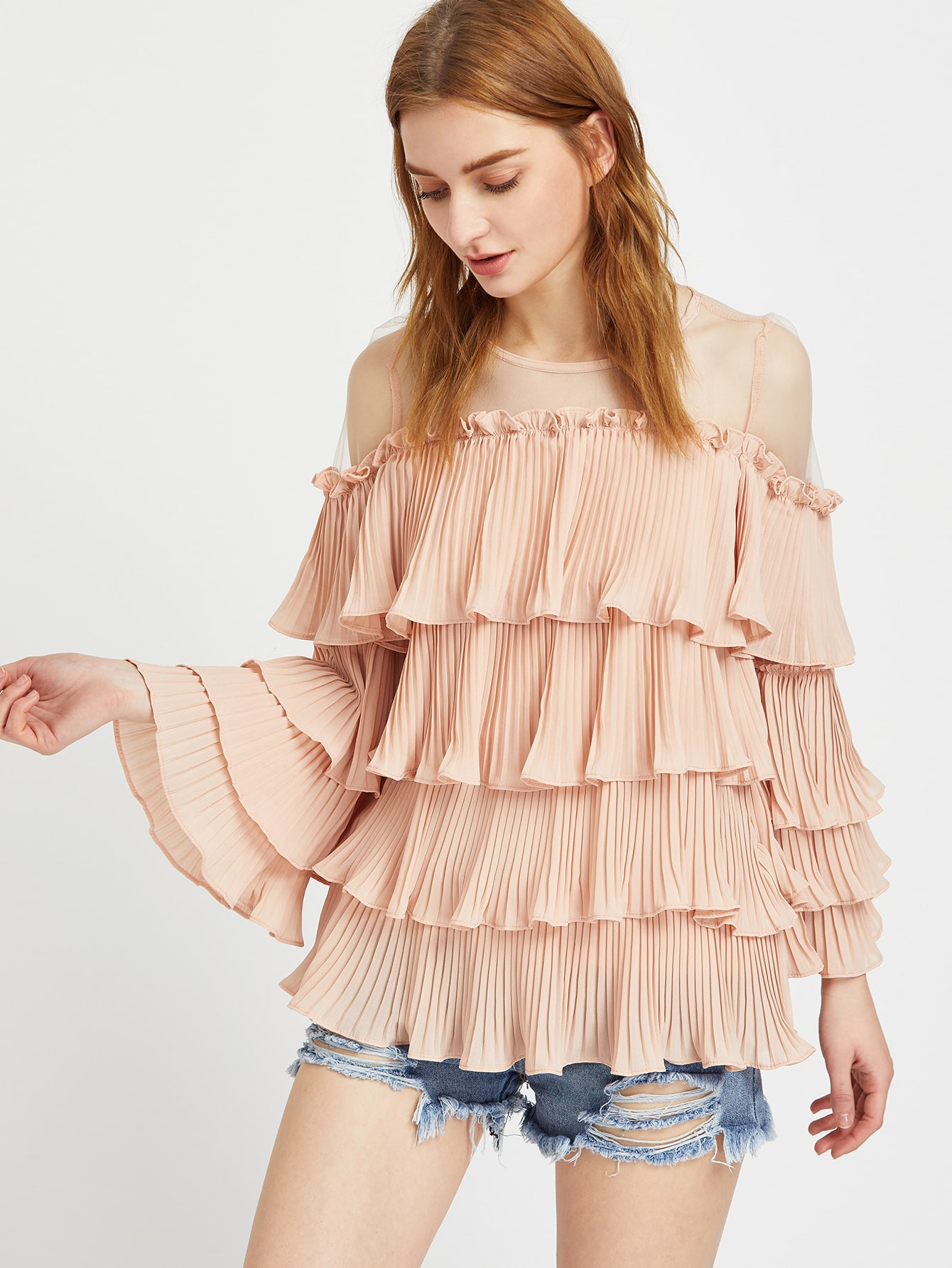 Фото Mesh Shoulder Pleated Tiered Frill Top. Купить с доставкой