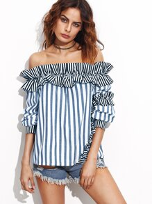 Frill Trim Cuffed Sleeve Striped Bardot Top