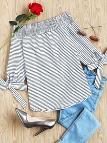 Striped Smocked Off The Shoulder Self Tie Sleeve Top