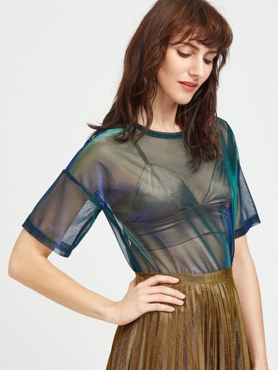Drop Shoulder Iridescent Sheer Mesh Top