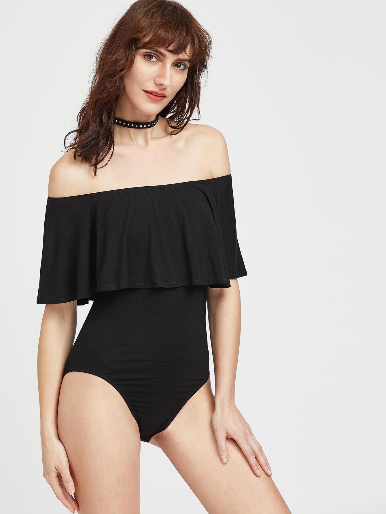 Flounce Layered Neckline Bodysuit