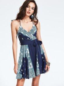 Paisley Print Crisscross Back Self Tie Wrap Dress